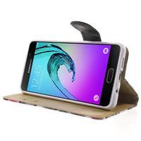 Květinové peněženkové pouzdro na Samsung Galaxy A5 (2016) - černé - 3/7