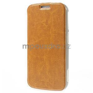Oranžové peňaženkové puzdro na Samsung Galaxy K Zoom C115 - 3