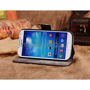 Peňaženkové puzdro z pravé kože pre Samsung Galaxy S4 - hnedá I - 3