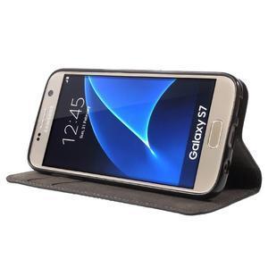 Leat PU kožený obal pre Samsung Galaxy S7 - čierný - 3