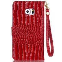 Croco styl peněženkové pouzdro na Samsung Galaxy S7 - červené - 3/6