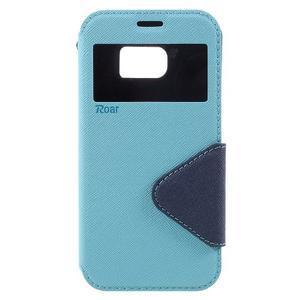 Diary puzdro s okienkom pre Samsung Galaxy S7 - svetlomodré - 3