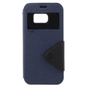 Diary puzdro s okienkom pre Samsung Galaxy S7 - tmavomodré - 3