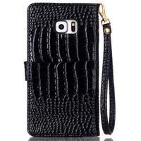 Croco styl peňaženkové puzdro pre Samsung Galaxy S7 - čierne - 3/6
