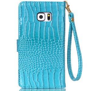 Croco styl peňaženkové puzdro pre Samsung Galaxy S7 - modré - 3