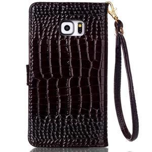 Croco styl peňaženkové puzdro pre Samsung Galaxy S7 - hnedé - 3