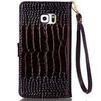Croco styl peňaženkové puzdro pre Samsung Galaxy S7 - hnedé - 3/6