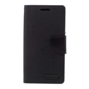 Canvas PU kožené/textilní puzdro pre Samsung Galaxy S7 - čierne - 3