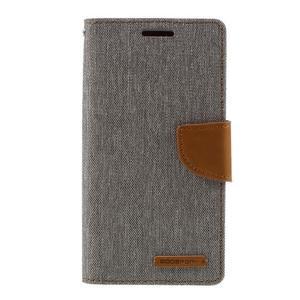 Canvas PU kožené/textilní puzdro pre Samsung Galaxy S7 - šedé - 3