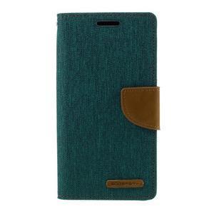 Canvas PU kožené/textilní puzdro pre Samsung Galaxy S7 - zelené - 3