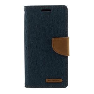 Canvas PU kožené/textilní puzdro pre Samsung Galaxy S7 - modré - 3