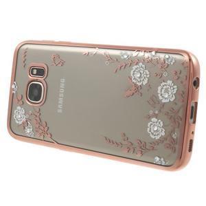Nice gelový obal s kamínky na Samsung Galaxy S7 - bílé květiny - 3