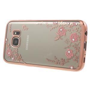 Nice gélový obal s kamínky pre Samsung Galaxy S7 - ružové kvetiny - 3