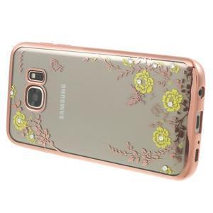 Nice gélový obal s kamínky pre Samsung Galaxy S7 - žlté kvetiny - 3