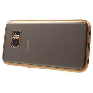 Gelový obal se zlatým rámom pre Samsung Galaxy S7 - 3