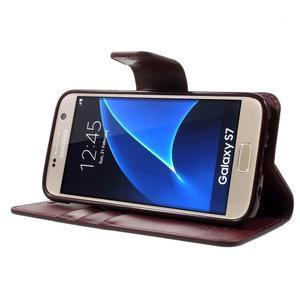 Sonata PU kožené pouzdro na Samsung Galaxy S7 - vínové - 3