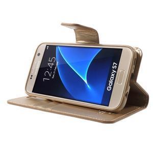 Sonata PU kožené pouzdro na Samsung Galaxy S7 - zlaté - 3