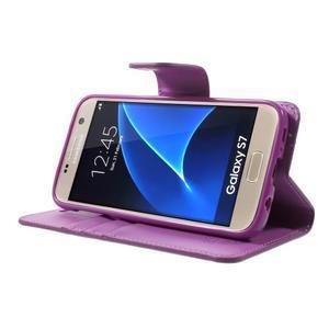 Sonata PU kožené puzdro pre Samsung Galaxy S7 - fialové - 3