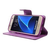 Sonata PU kožené pouzdro na Samsung Galaxy S7 - fialové - 3/7