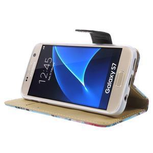 Flower puzdro pre mobil Samsung Galaxy S7 - modré pozadí - 3