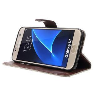 Kvetinové peňaženkové puzdro pre Samsung Galaxy S7 - béžovobiele - 3
