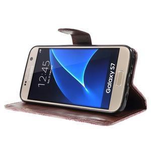 Kvetinové peňaženkové puzdro pre Samsung Galaxy S7 - ružové - 3