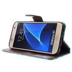 Květinové pěněženkové pouzdro na Samsung Galaxy S7 - modré - 3