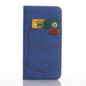 Jeans puzdro pre mobil Samsung Galaxy S7 edge - modré - 3