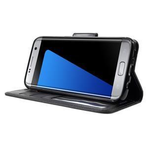 Rich PU kožené puzdro pre Samsung Galaxy S7 edge - čierne - 3