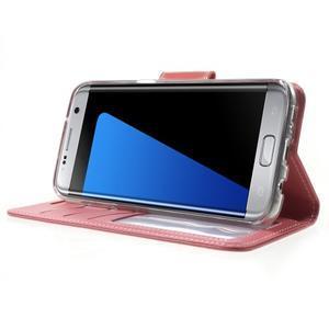 Rich PU kožené puzdro pre Samsung Galaxy S7 edge - ružové - 3