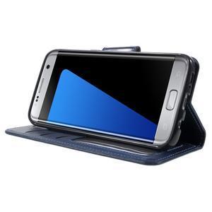 Rich PU kožené puzdro pre Samsung Galaxy S7 edge - tmavomodré - 3