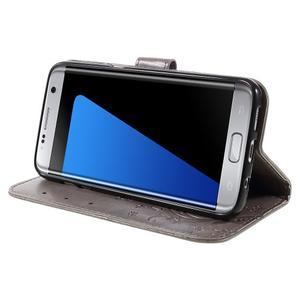 Butterfly PU kožené pouzdro na Samsung Galaxy S7 edge - šedé - 3