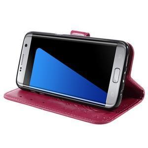 Butterfly PU kožené puzdro pre Samsung Galaxy S7 edge - rose - 3