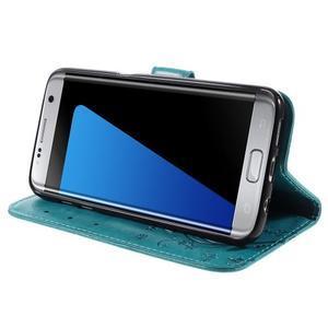 Butterfly PU kožené puzdro pre Samsung Galaxy S7 edge - modré - 3