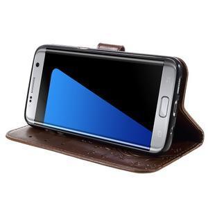 Butterfly PU kožené puzdro pre Samsung Galaxy S7 edge - hnedé - 3