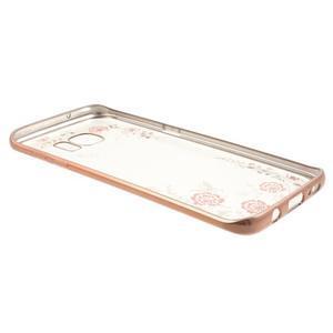 Nice gélový obal s kamienkami pre Samsung Galaxy S7 edge - ružové kvety - 3