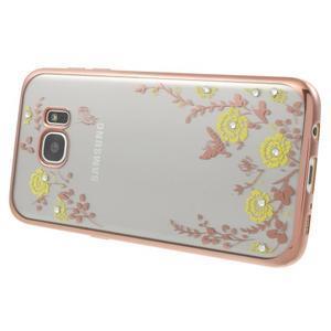 Nice gélový obal s kamienkami pre Samsung Galaxy S7 edge - žlté kvety - 3