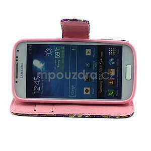 Pusinky peňaženkové puzdro pre Samsung Galaxy S4 Mini - fialové - 3