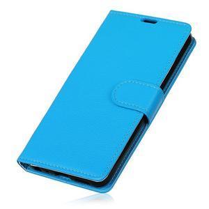 Litchi PU kožené púzdro na Sony Xperia L2 - modré - 3