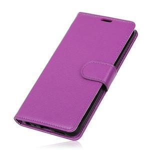 Litchi PU kožené púzdro na Sony Xperia L2 - fialové - 3