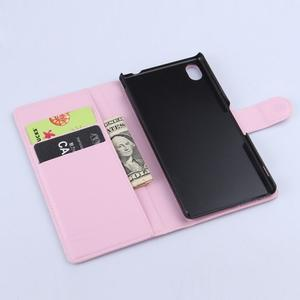 Svetle ružové PU kožené puzdro pre Sony Xperia M4 Aqua - 3