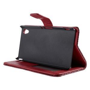 Tmavě červené PU kožené pouzdro aligátor pro Sony Xperia M4 Aqua - 3
