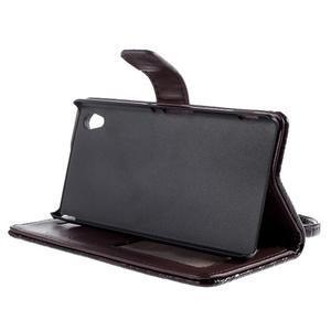 Tmave hnedé PU kožené puzdro aligátor pre Sony Xperia M4 Aqua - 3