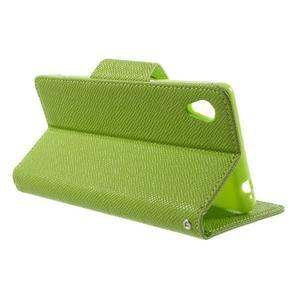 Zelené PU kožené Peňaženkové puzdro pre Sony Xperia M4 Aqua - 3