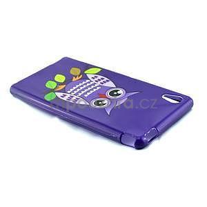 Gelový kryt na Sony Xperia M4 Aqua - fialová sova - 3