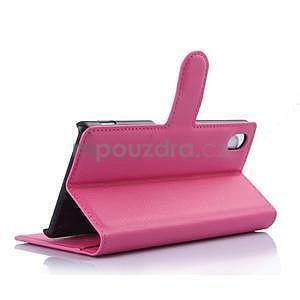 Růžové PU kožené pouzdro na Sony Xperia M4 Aqua - 3