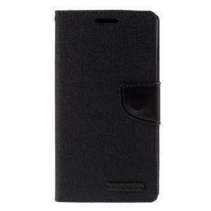 Canvas PU kožené/textilné puzdro pre Sony Xperia Z5 - čierne - 3