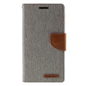 Canvas PU kožené/textilné puzdro pre Sony Xperia Z5 - sivé - 3