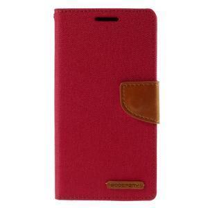 Canvas PU kožené/textilné puzdro pre Sony Xperia Z5 - červené - 3