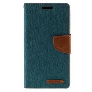 Canvas PU kožené/textilné puzdro pre Sony Xperia Z5 - zelené - 3